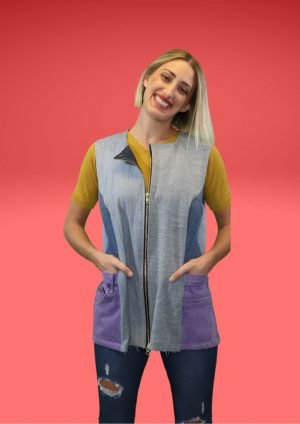 Denim Tunic Purple Drop In Pockets Dbl Zipper