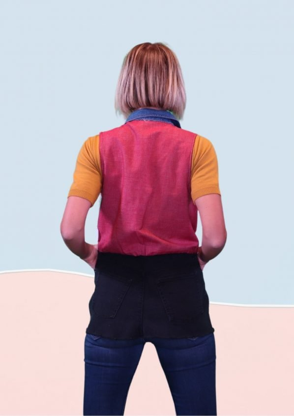 Back vest of red Black and blue